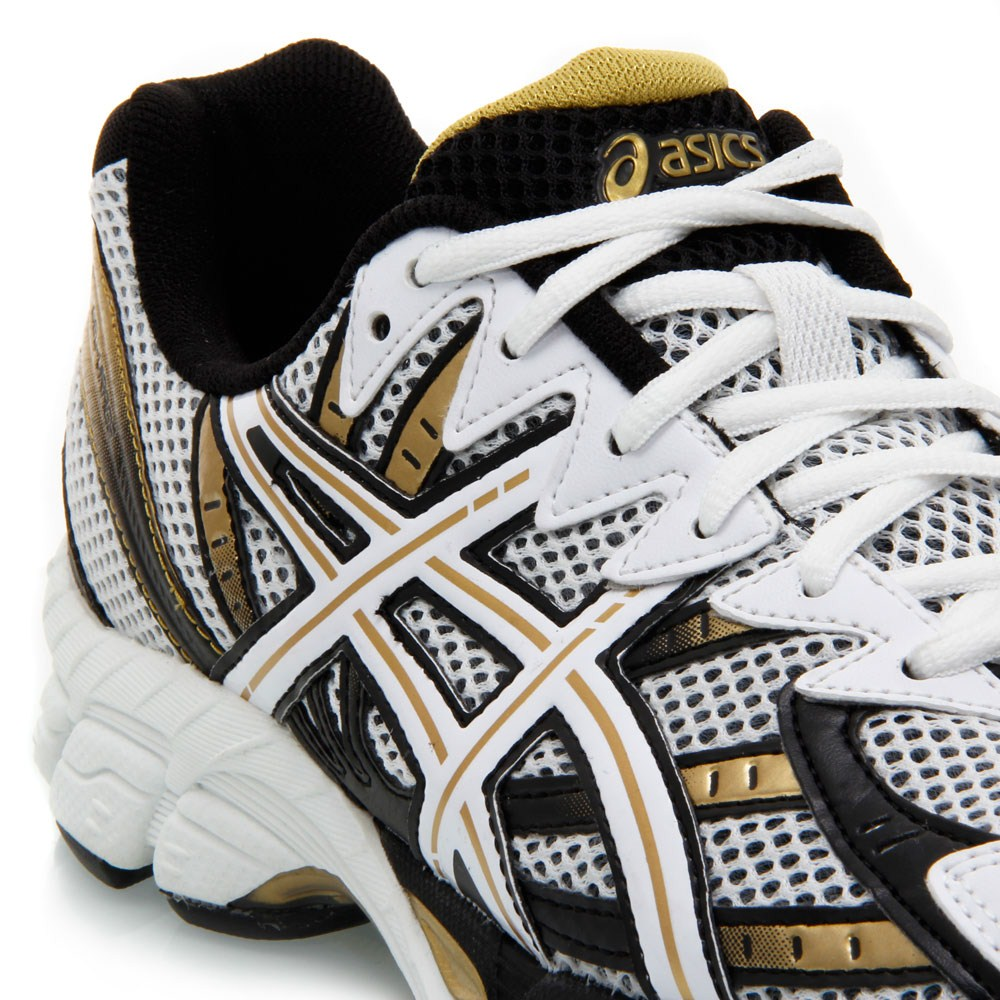 asics mens gel virage 6 running shoes white/gold/black