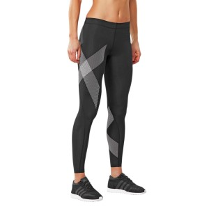 2XU Womens Compression Tights - Black/Striped White