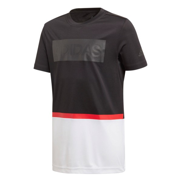 Adidas Colourblocked Kids Boys Training T-Shirt - Black/White/Vivid Red
