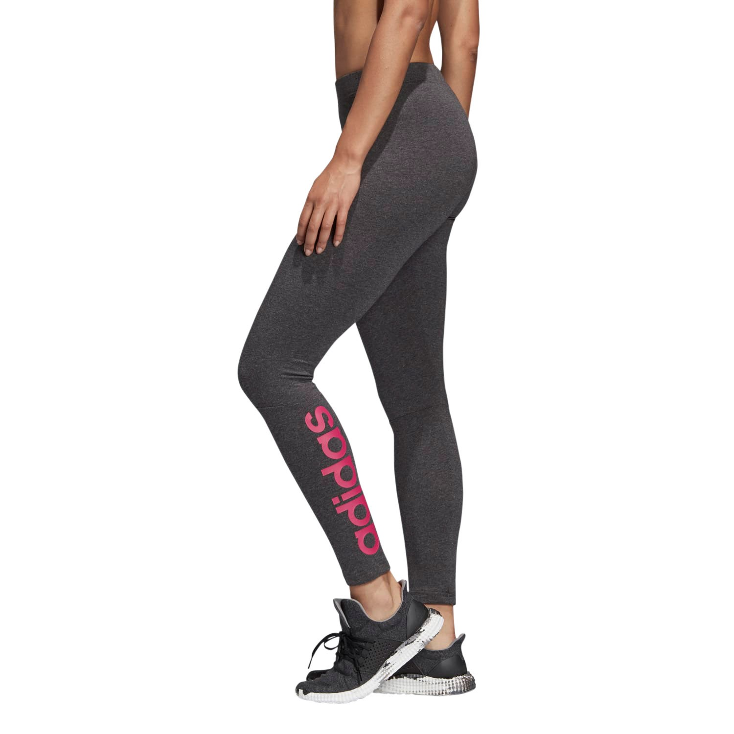 9bcefbccc90 Adidas Essentials Linear Womens Training Tights - Dark Grey Heather/Real  Magenta