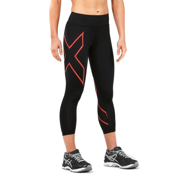 2XU Bonded Mid-Rise Womens 7/8 Compression Tights - Hibiscus/Black