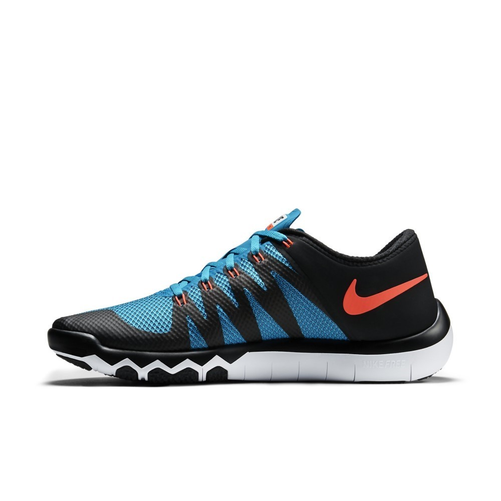 nike free trainer 5 0 v6 mens training shoes black hyper orange blue online sportitude. Black Bedroom Furniture Sets. Home Design Ideas