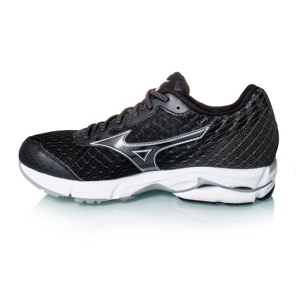mizuno wave rider 19 womens running shoes black white online sportitude. Black Bedroom Furniture Sets. Home Design Ideas