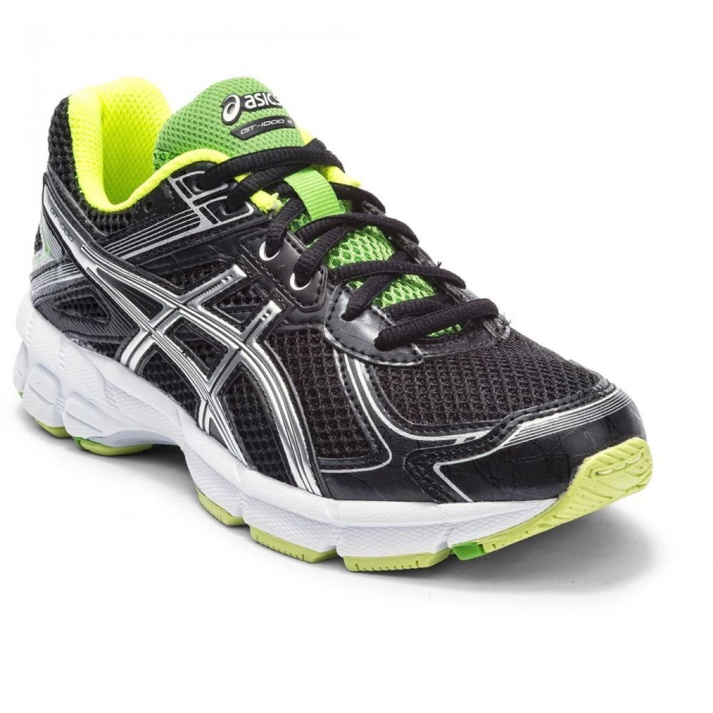 Asics Gel GT-1000 2 GS - Kids Boys Running Shoes - Black/Silver
