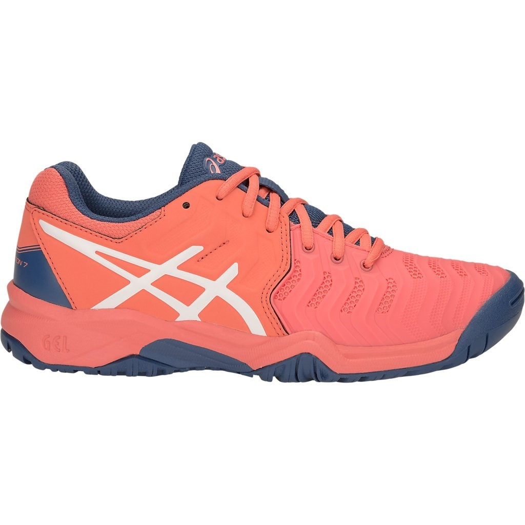 4543224d5509 Asics Gel Resolution 7 GS - Kids Girls Tennis Shoes - Papaya White ...