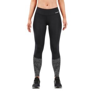 2XU Reflect Run Mid Womens Compression Tights With Storage - Black/Silver Glo Reflective
