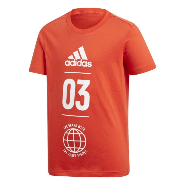 Adidas Sport ID Kids Boys Casual T-Shirt - Active Red/White