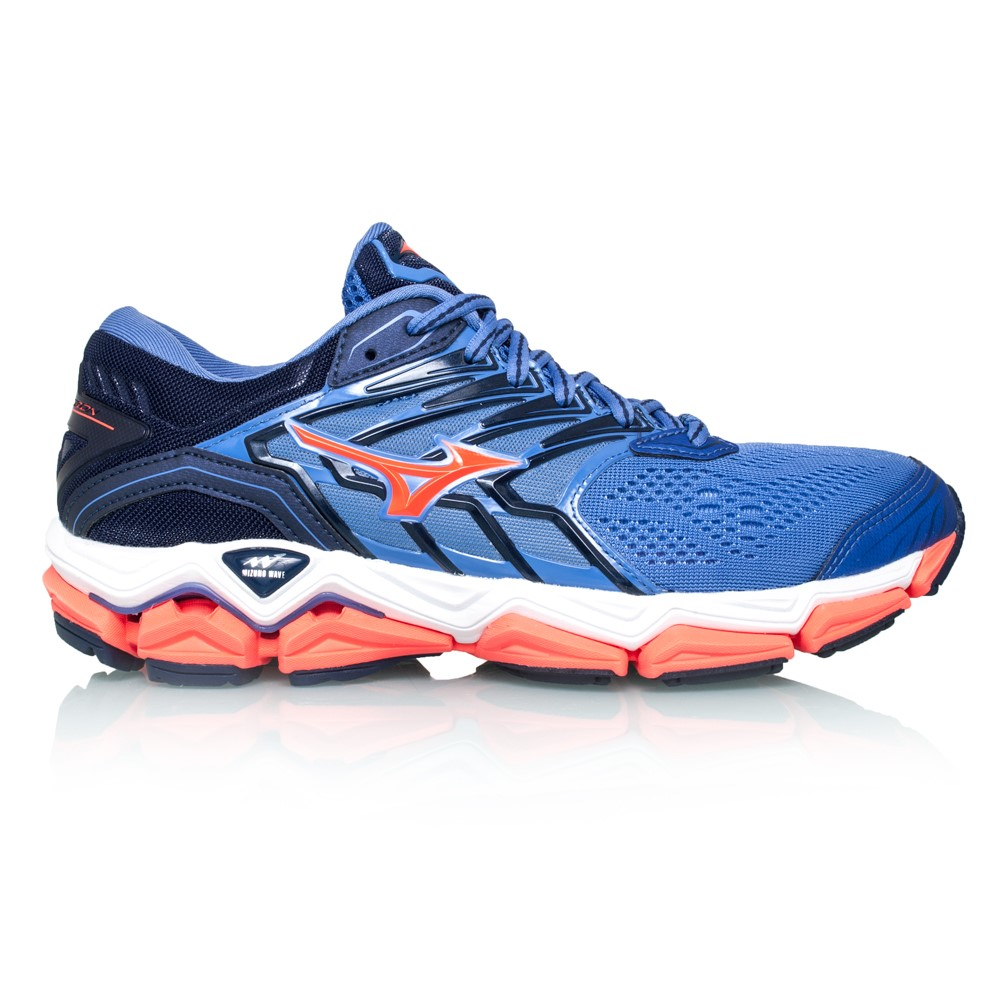Mizuno Wave Horizon 2 - Womens Running Shoes - Baja Blue Fiery Coral ... 051824ea8b2ce