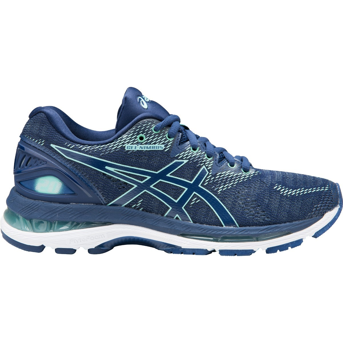 Asics Gel Nimbus 20 - Womens Running Shoes - Indigo Blue Opal Green ... ca968c57f2