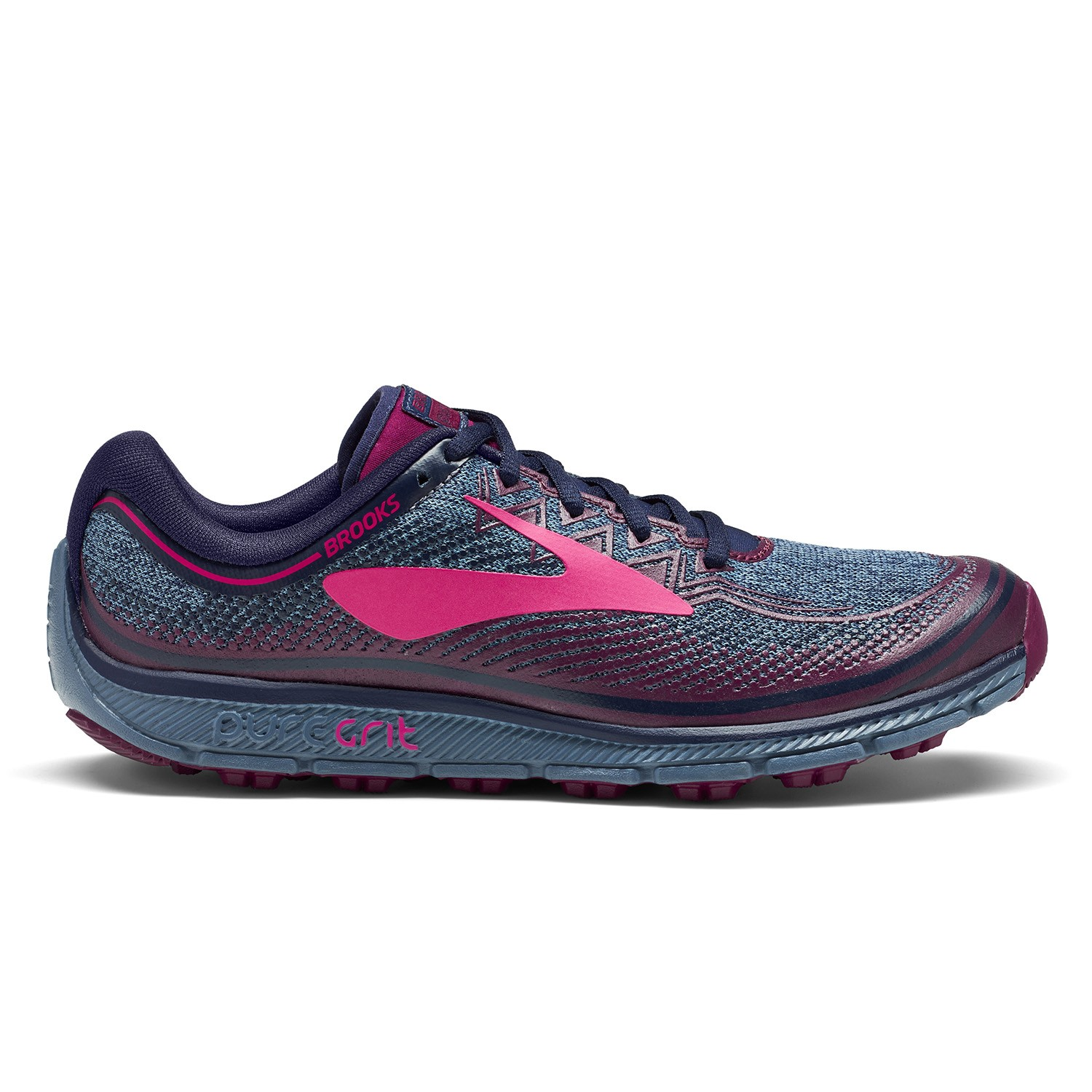 0be05e5f2d1 Brooks Pure Grit 6 - Womens Trail Running Shoes - Navy Plum Pink ...