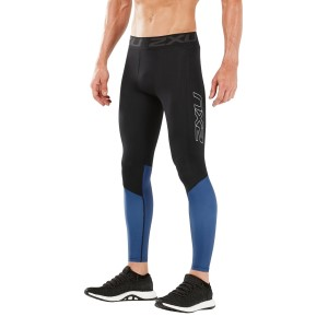 2XU Accelerate Mens Compression Tights With Storage - Black/Galaxy Blue