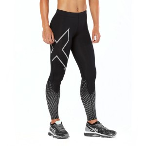 2XU Reflect Womens Compression Tights - Black/Silver Reflective
