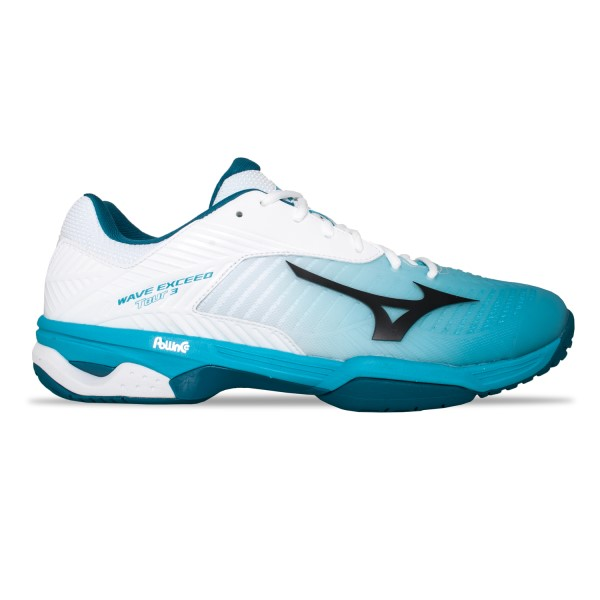 Mizuno Wave Exceed Tour 3 AC - Mens Court Shoes - White/Peacock Blue