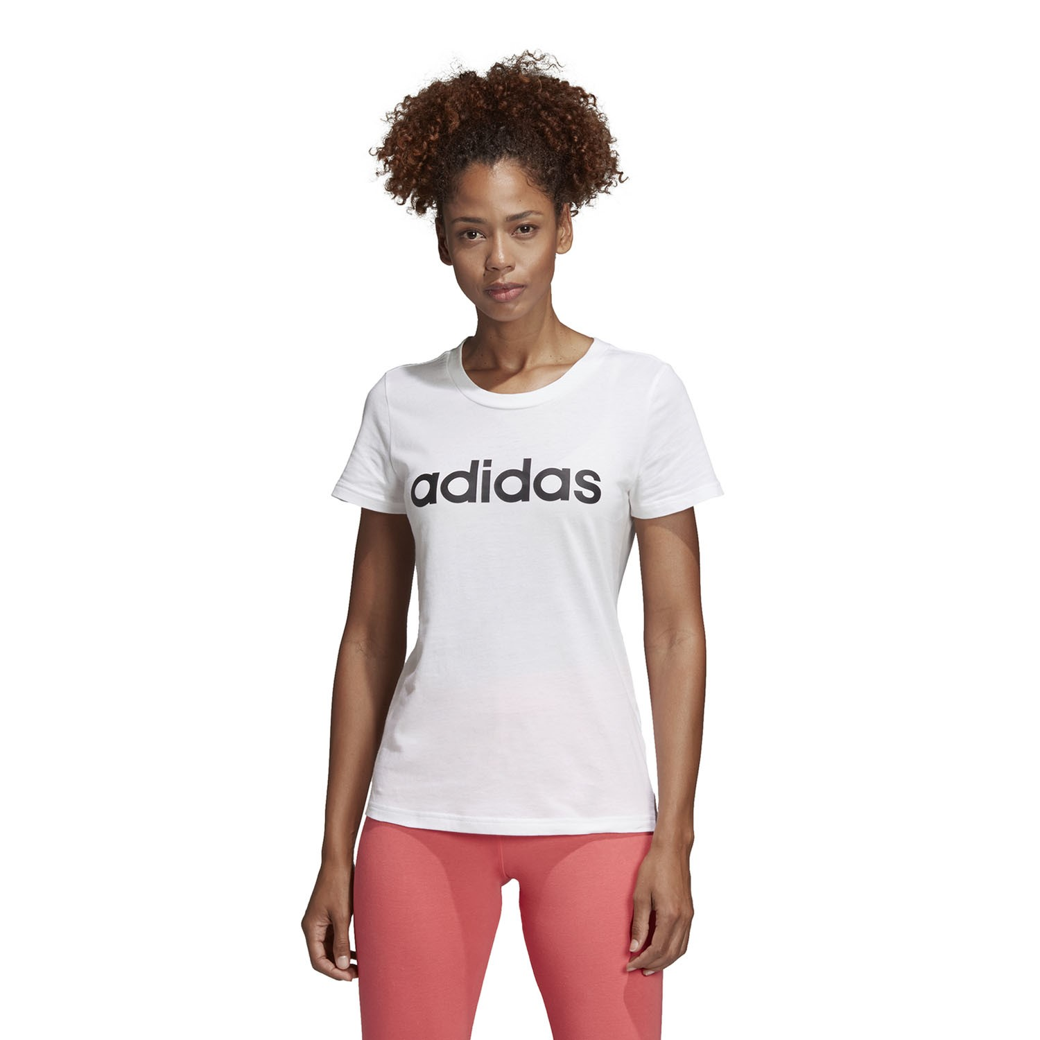 Adidas Essentials Linear Womens Slim T-Shirt - White Black  aad679f746a