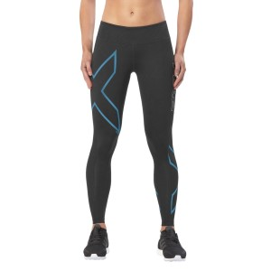 2XU ICE Mid-Rise Womens Compression Tights - Black/Cool Blue