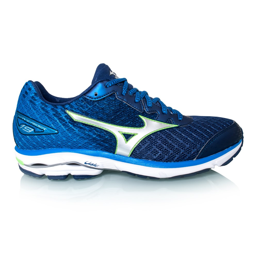 mizuno wave rider 19 mens running shoes blue silver. Black Bedroom Furniture Sets. Home Design Ideas