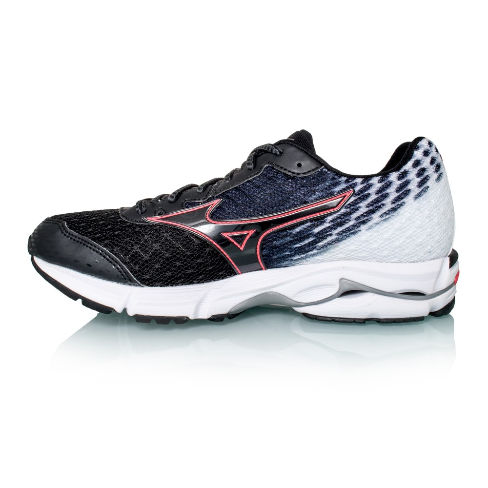 mizuno wave rider 19 womens running shoes black pink online sportitude. Black Bedroom Furniture Sets. Home Design Ideas