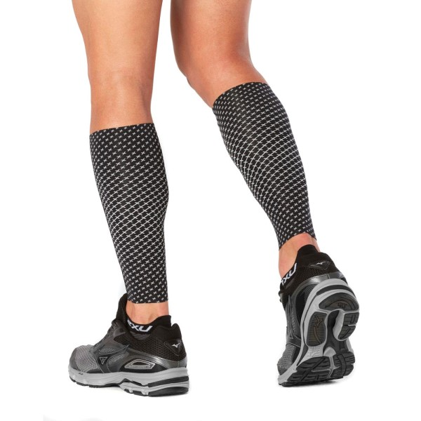 2XU Reflect Unisex Compression Calf Sleeves - Black/Silver Reflective