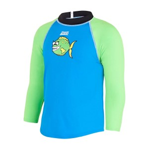 Zoggs Fishy Business Zip Kids Boys Swimming Sun Top