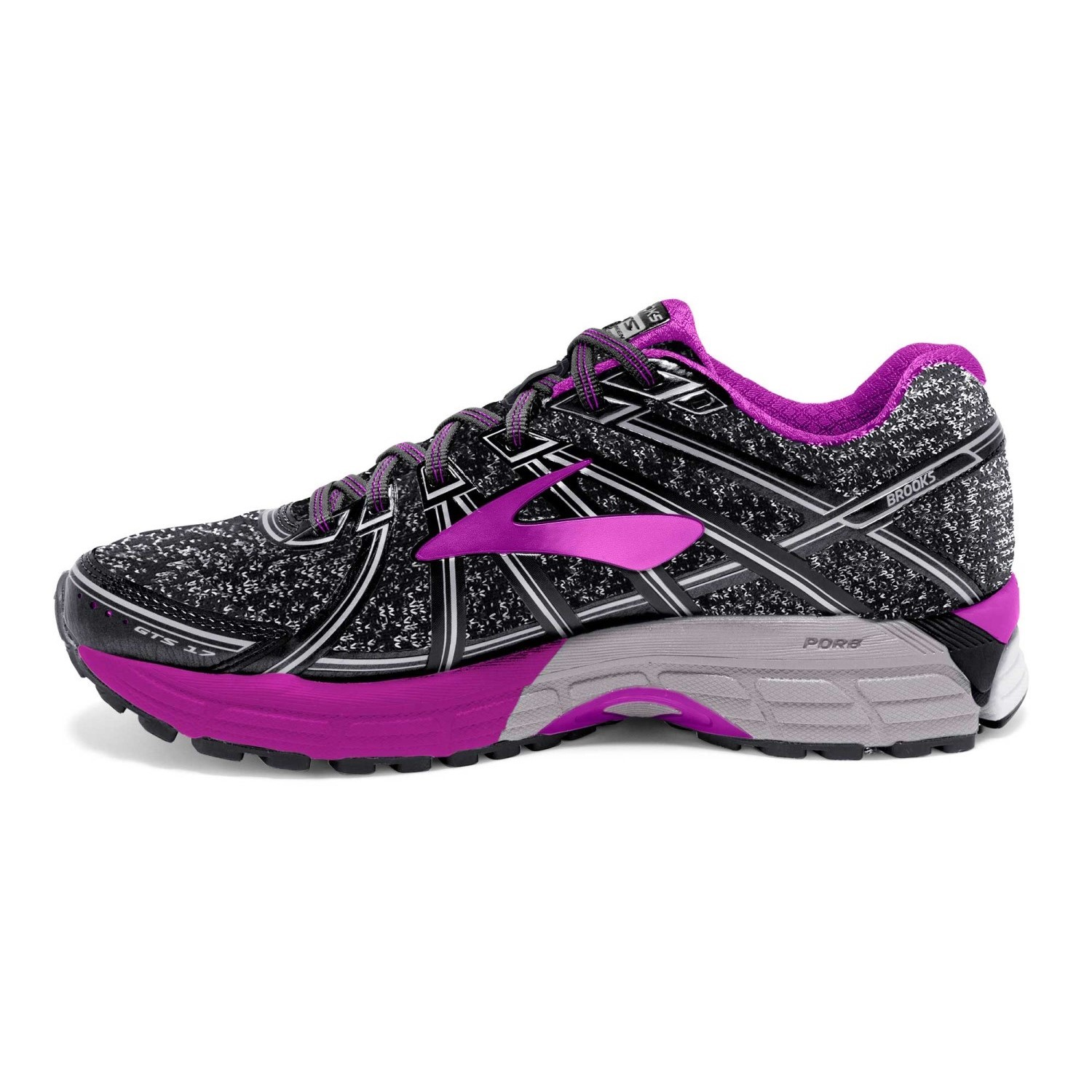 74b436ff0b3ef Brooks Knitted Adrenaline GTS 17 - Womens Running Shoes - Charcoal Black  Purple