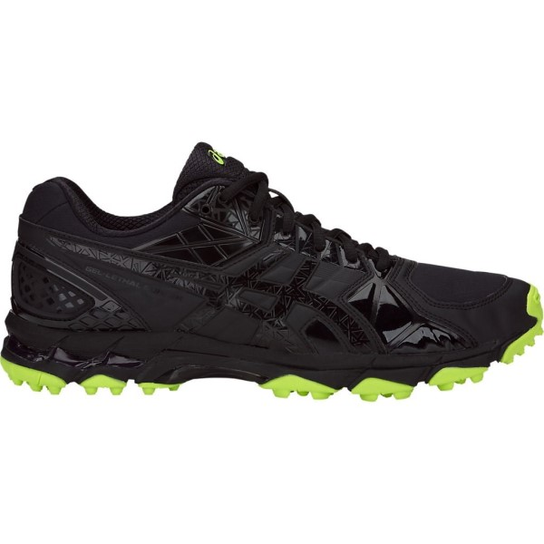 Asics Gel Lethal Burner - Mens Cross Training and Turf Shoes - Double Black/Hazard Green