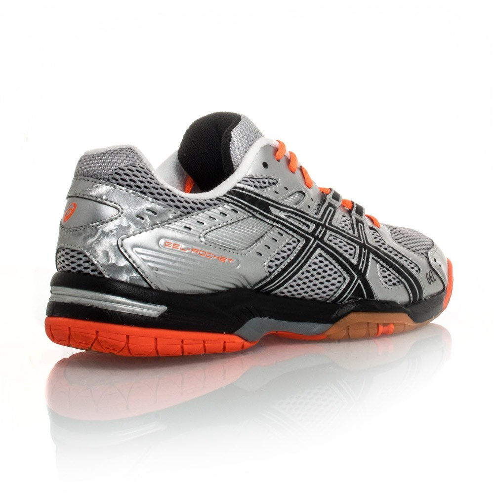 Asics Gel Rocket 6 - Mens Indoor Court Shoes - Silver/Black/Neon Orange