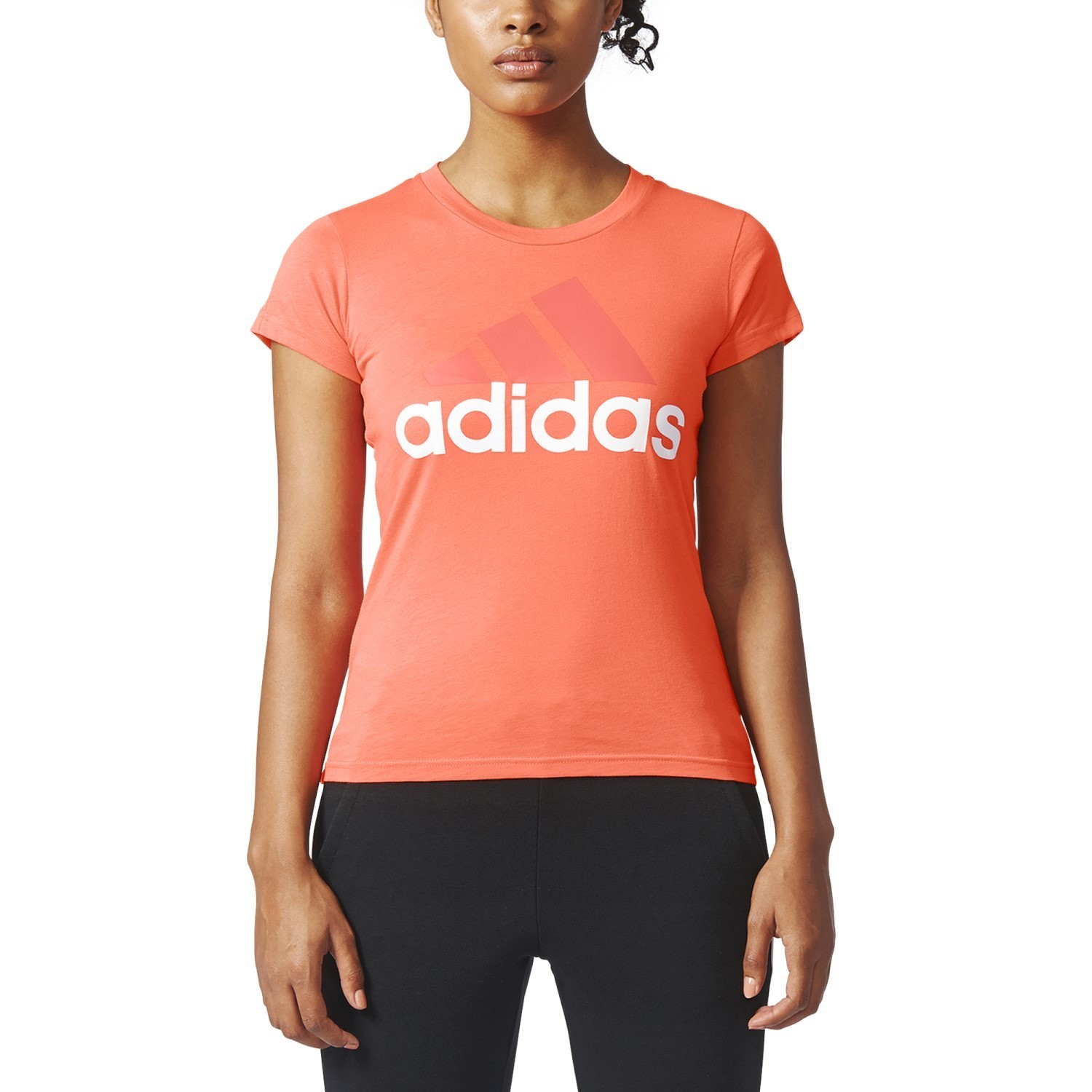 c6fbb7ca Adidas Essentials Linear Womens T-Shirt - Easy Coral/White | Sportitude