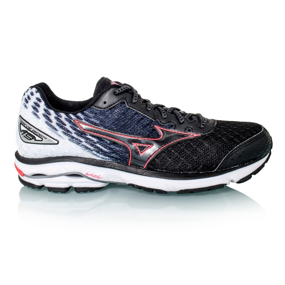 mizuno wave rider 19 womens running shoes black pink. Black Bedroom Furniture Sets. Home Design Ideas
