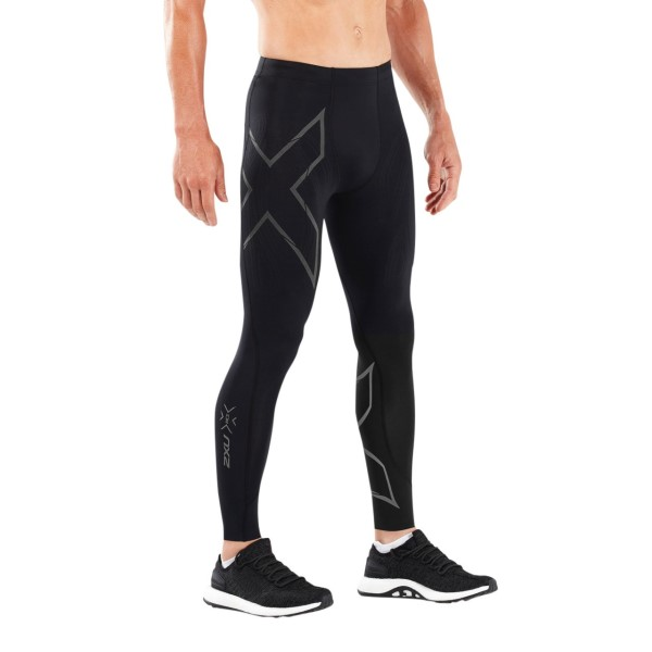 2XU MCS Run Mens Compression Tights With Back Storage - Black/Black Reflective