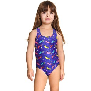 Zoggs Rainbow Unicorn Actionback Kids Girls One Piece Swimsuit