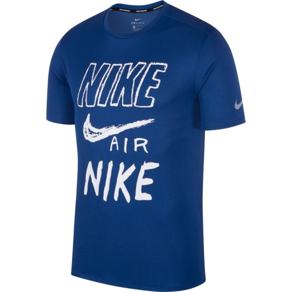Nike Breathe Graphic Mens Running T-Shirt - Indigo Force/White/Reflective Silver