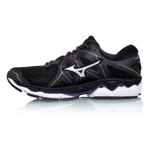 Mizuno Wave Sky 2 - Womens Running Shoes - Black/Silver/Bright Violet