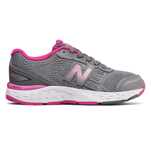 New Balance 680v5 - Kids Girls Running Shoes - Steel/Pink Glo