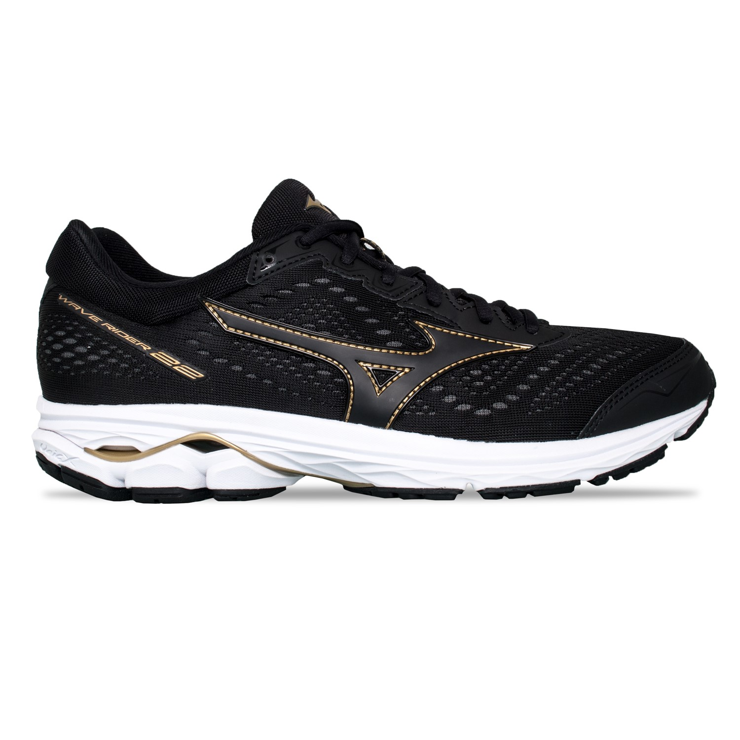 more photos c97d3 2b5a8 Mizuno Wave Rider 22 - Mens Running Shoes - Black Gold