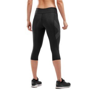 2XU Womens Mid-Rise Compression 3/4 Tights - Dotted Reflective Logo