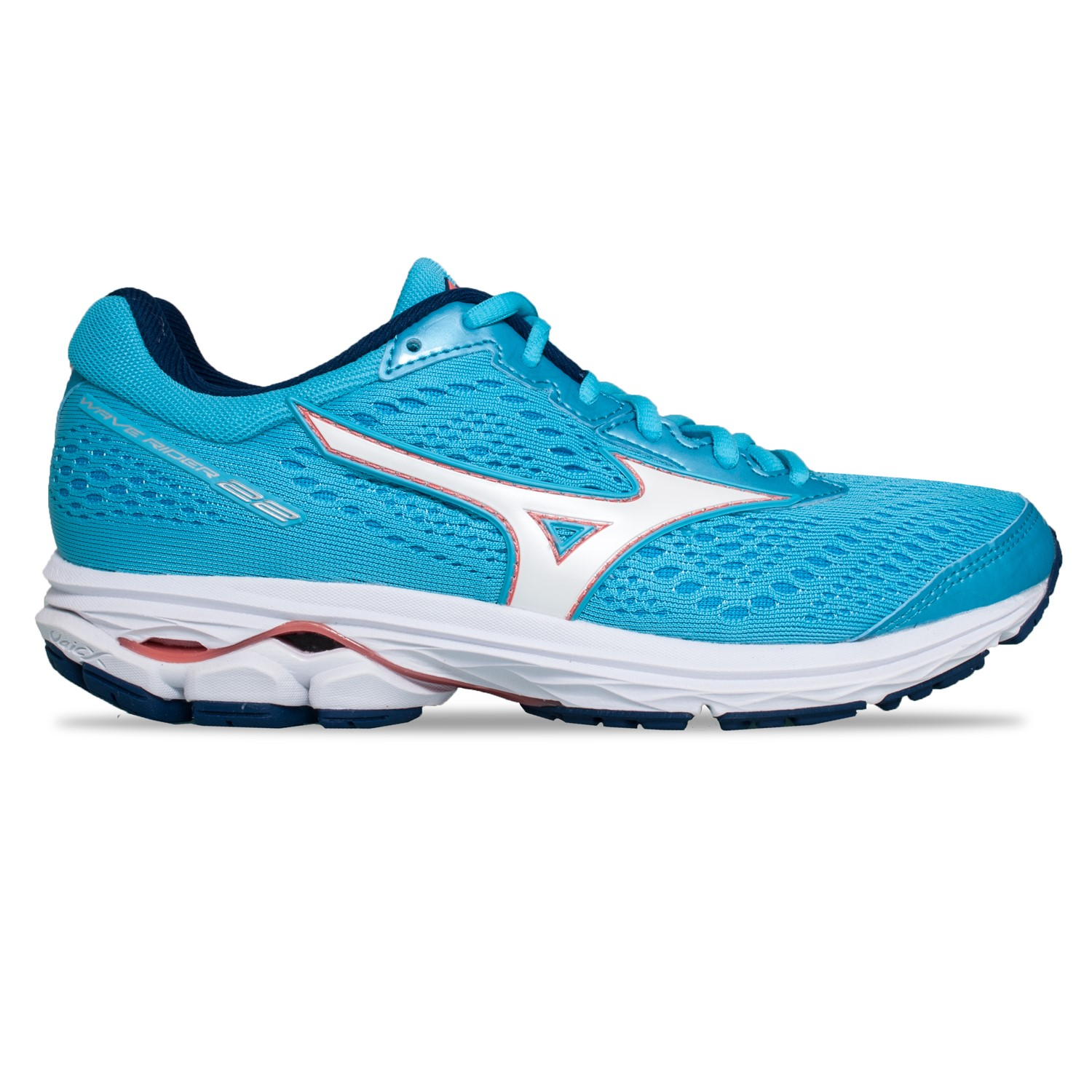 60f1de707280 Mizuno Wave Rider 22 - Womens Running Shoes - Blue Atoll/White/Peach ...