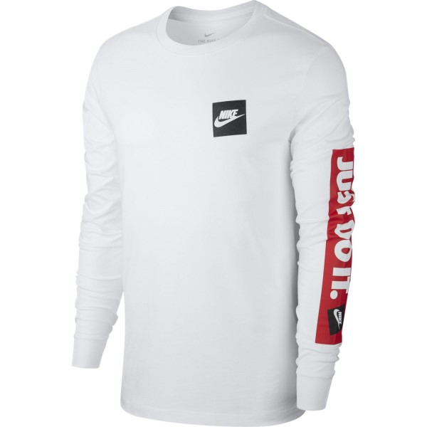 Nike Sportswear Just Do It Mens Long Sleeve T-Shirt - White