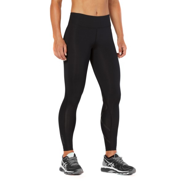 2XU Mid-Rise Print Womens Full Length Compression Tights - Black Dot/Nero
