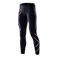 2XU Womens Compression Tights - Black/Baby Pink