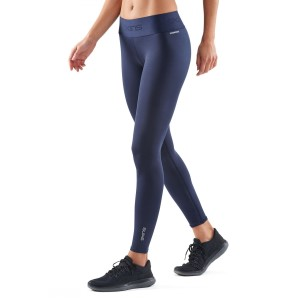 Skins DNAmic Primary Recovery Womens Compression Long Tights - Navy Blue