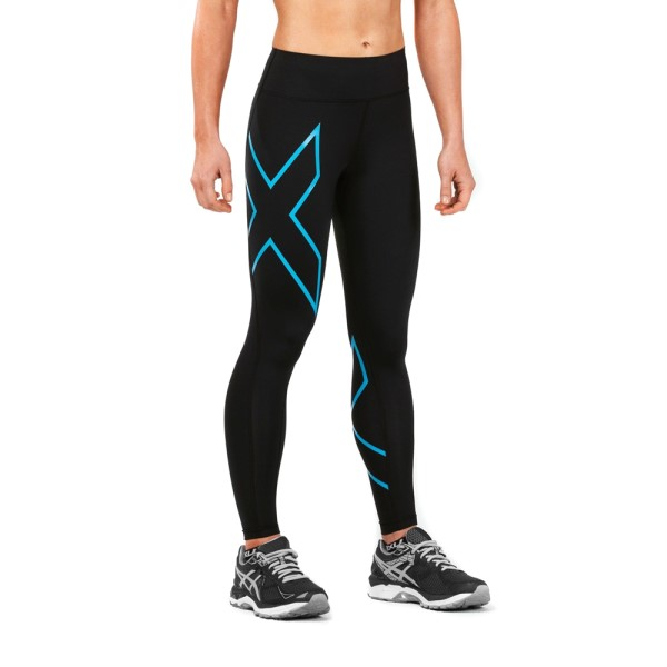 2XU Bonded Mid-Rise Womens Compression Tights - Dresden Blue/Black