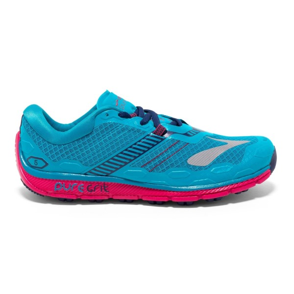 Brooks PureGrit 5 - Womens Trail Running Shoes - Blue/Virtual Pink