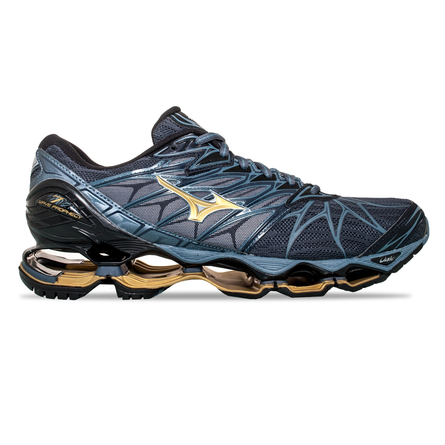 cf1e0e5155d2 Mizuno Wave Prophecy 7 - Mens Running Shoes - Ombre Blue/Gold/Black ...