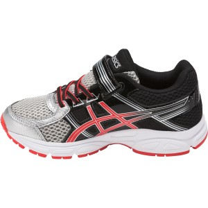 Asics Pre Contend 4 PS - Kids Boys Running Shoes - Silver/Cherry Tomato/Black
