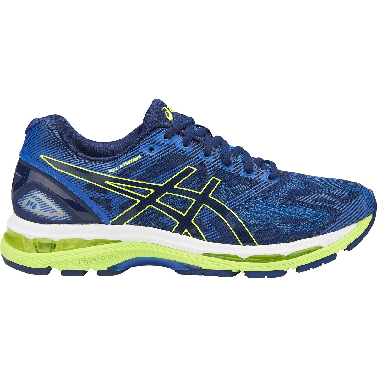 asics gel nimbus 19 mens running shoes indigo blue safety yellow electric blue online. Black Bedroom Furniture Sets. Home Design Ideas