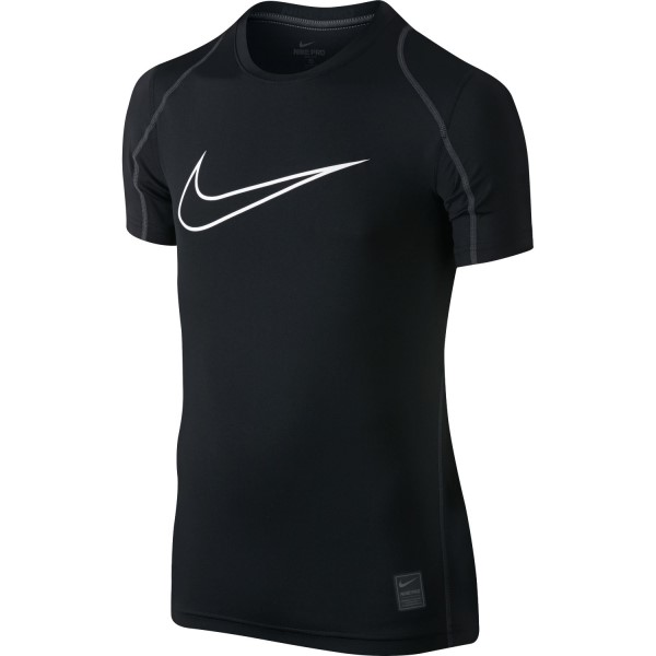Nike Pro Cool HBR Fitted Dri-Fit Kids Boys Short Sleeve Training T-Shirt - Black