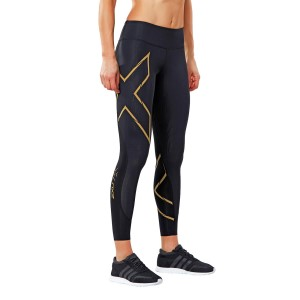 2XU MCS Run Womens Compression Tights - Black/Gold Reflective