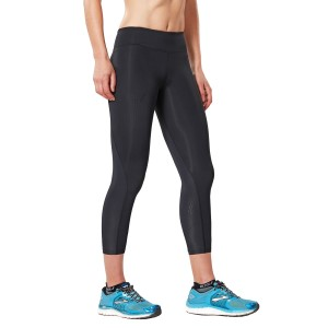 2XU Womens Mid-Rise 7/8 Compression Tights - Black/Dotted Black Logo