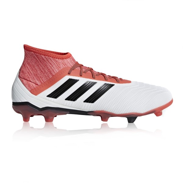 Adidas Predator 18.2 Firm Ground - Mens Football Boots - White/Core Black/Real Coral