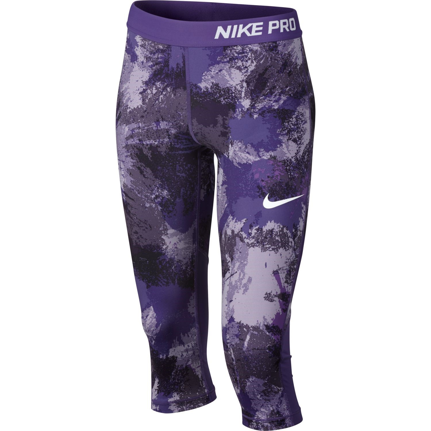 ec7dd458914f5 Nike Pro All Over Print Kids Girls Capri Training Tights - Dark Iris Purple